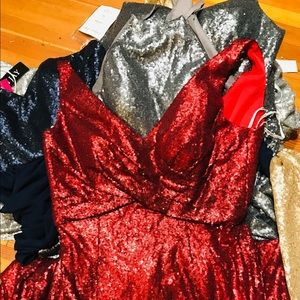 RED Bari jay v neck sequined dress and more.